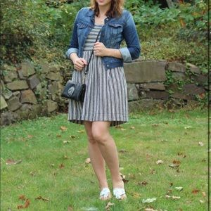 Loft Gray + White Striped Sundress